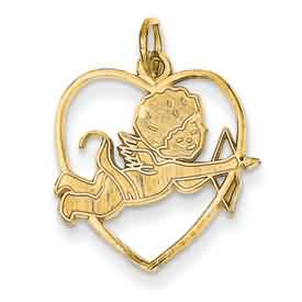 14k gold cupid pendants in heart with bow and arrow weighs 11g measures 1116w x 1316h
