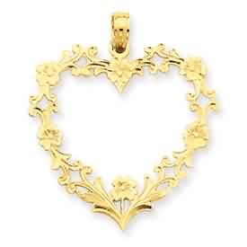 14k gold large floral heart pendant weighs 15g measures 1 116w x 1 14h