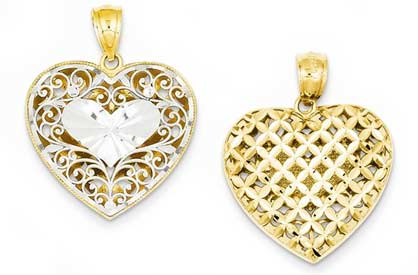 14k gold two tone reversible filigree heart pendant weighs 2g measures 1316w x 1h