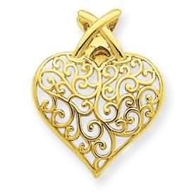 14k gold filigree heart pendant weighs 9g measures 58w x 34h