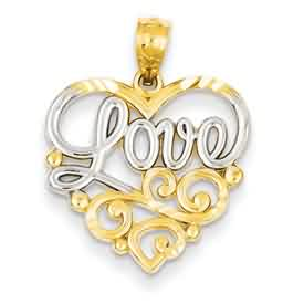 14k gold heart pendants LOVE in heart with swirl design and rhodium accents weighs 1 g me