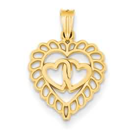 14k gold heart pendant weighs 8g measures 58w x 78h