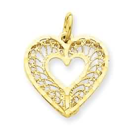 14k gold heart pendant weighs 15g measures 34w x 1316h