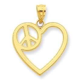 14k gold heart with peace sign pendant weighs 9g measures 34w x 78h