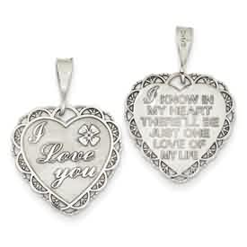 14k white gold heart pendants I LOVE YOU on front I KNOW IN MY HEART THERELL BE JUST ONE