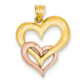 14k gold yellow and rose gold heart pendant double hearts weighs 25g measures 1316w x 1