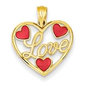 14k gold heart pendants LOVE with red enameled hearts in medium size heart weighs 09 g m
