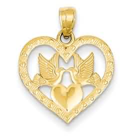 14k gold two doves in open heart pendant with a second high polished heart weighs 85g me