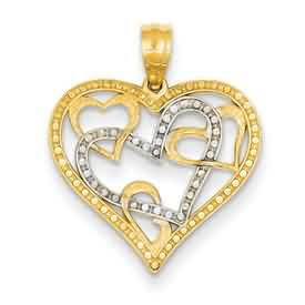 14k gold heart pendant weighs 10g measures 34w x 78h