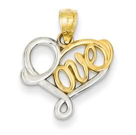 14k gold Rhodium Love pendant weighs 76g measures w x h