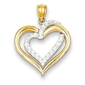 14k gold two-tone diamond cut heart pendant weighs 12g measures 34w x 1516h