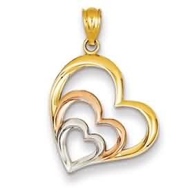 14k two tone rhodium hearts pendant weighs 8g measures 1116w x 1h