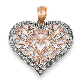 14k rose gold diamond cut fancy heart pendant with rhodium weighs 166g measures 1516w x