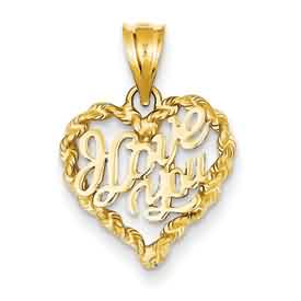 14k gold I love you heart  pendant weighs 11g measures 58w x 1316h