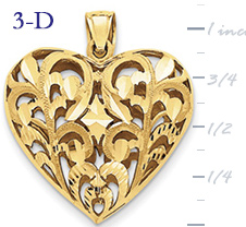 14k gold filigree heart pendant with open design large 3D heart  measures 1 116w x 1 3
