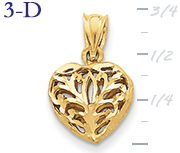 14k gold fancy heart pendant small 3D heart  measures 716w x 34h weighs 16g