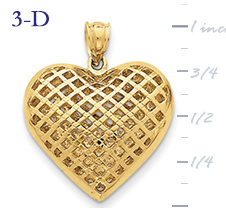 14k gold fancy heart pendant with open weave or mesh design large 3D heart  measures 78