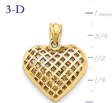 14k gold fancy heart pendant with open weave or mesh design medium 3D heart  measures 3