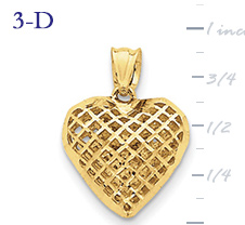 14k gold fancy heart pendant with open weave or mesh design small 3D heart  measures 58