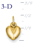 14k gold puffed heart pendant small 3D heart  measures 516w x 916h weighs 3g