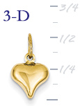 14k gold puffed heart pendant small 3D heart  measures 38w x 916h weighs 3g