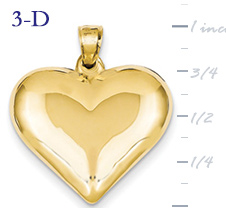 14k gold puffed heart pendant large 3D heart  measures 78w x 1h weighs 16g
