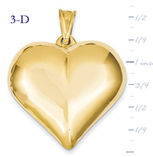 14k gold puffed heart pendant large 3D heart  measures 1 38w x 1 58h weighs 43g