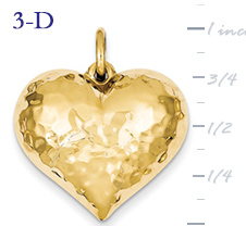14k gold hammered heart pendant large 3D heart  measures 1w x 1 116h weighs 28g