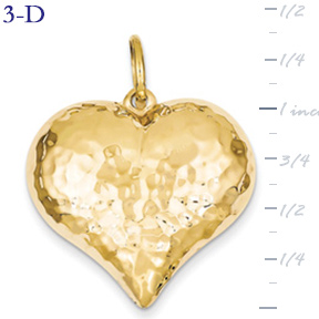 14k gold hammered heart pendant large 3D heart  measures 1 18w x 1 38h weighs 37g