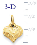 14k gold puffed heart pendant small 3D heart  measures 716w x 58h weighs 3g