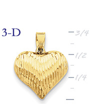 14k gold puffed heart pendant with design medium 3D heart  measures 58w x 34h weighs
