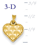 14k gold puffed heart pendant small 3D heart  measures 12w x 916h weighs 4g