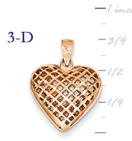 14k ROSE gold puffed heart pendant small 3D heart  measures 58w x 34h weighs 20g
