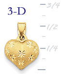 14k satin and diamond cut puffed heart pendant small 3D heart  measures 12w x 58h wei