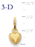14k gold heart pendant tiny heart charm small 3D heart  measures 14w x 12h weighs 7g