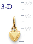 14k gold puffed heart pendant small 3D heart  measures 14w x 12h weighs 7g