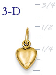 14k gold puffed heart pendant small 3D heart  measures 516w x 12h weighs 9g