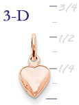 14k rose gold puffed heart pendant  measures 516w x 916h weighs 9g