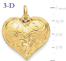 14k gold puffed heart pendant large 3D heart  measures 1w x 1 116h weighs 27g