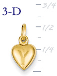 14k gold puffed heart pendant small 3D heart  measures 516w x 916h weighs 26g