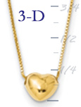 14k gold tiny puffed heart sliding on 16 inch chain  heart measures 14w x 316h