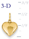 14k gold puffed heart pendant small 3D heart  measures 716w x 916h