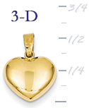 14k gold small puffed heart pendant small 3D heart  measures 12w x 58h