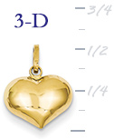 14k gold puffed heart pendant small 3D heart  measures 12w x 916h