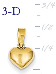14k gold puffed heart pendant small 3D heart  measures 516w x 12h