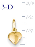 14k gold puffed heart pendant small 3D heart  measures 14w x 716h