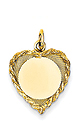 14k gold heart pendants decorative ROPE edge MEDIUM THICKNESS gold heart to engrave