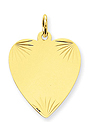 14k gold heart pendants MEDIUM THICKNESS gold heart to engrave