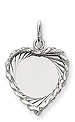 14k white gold heart pendants to engrave with rope edge detail