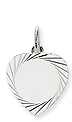 14k white gold heart pendants to engrave with edge detail